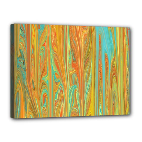 Beautiful Abstract In Orange, Aqua, Gold Canvas 16  X 12
