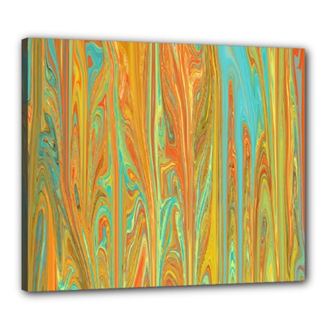 Beautiful Abstract In Orange, Aqua, Gold Canvas 24  X 20