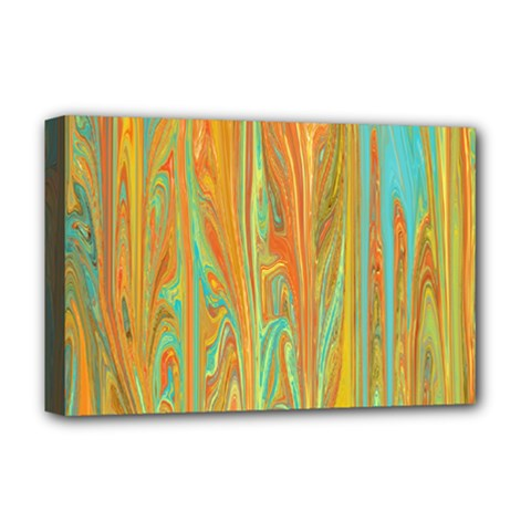 Beautiful Abstract in Orange, Aqua, Gold Deluxe Canvas 18  x 12
