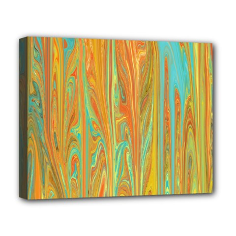 Beautiful Abstract In Orange, Aqua, Gold Deluxe Canvas 20  X 16
