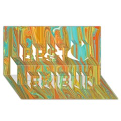 Beautiful Abstract In Orange, Aqua, Gold Best Friends 3d Greeting Card (8x4)
