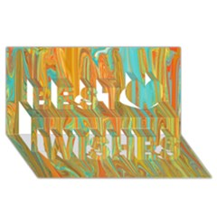 Beautiful Abstract in Orange, Aqua, Gold Best Wish 3D Greeting Card (8x4)