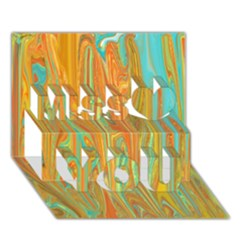 Beautiful Abstract in Orange, Aqua, Gold Miss You 3D Greeting Card (7x5)