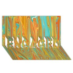 Beautiful Abstract In Orange, Aqua, Gold Engaged 3d Greeting Card (8x4)