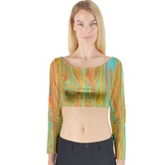 Beautiful Abstract in Orange, Aqua, Gold Long Sleeve Crop Top
