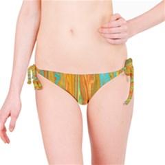 Beautiful Abstract in Orange, Aqua, Gold Bikini Bottom