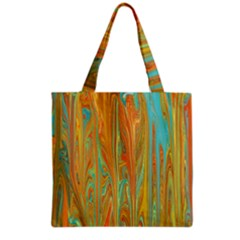 Beautiful Abstract in Orange, Aqua, Gold Grocery Tote Bag