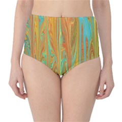 Beautiful Abstract In Orange, Aqua, Gold High Waist Bikini Bottoms