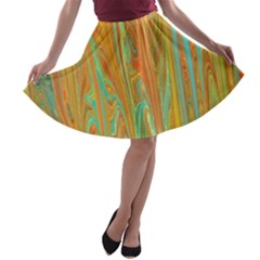 Beautiful Abstract In Orange, Aqua, Gold A Line Skater Skirt
