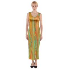 Beautiful Abstract In Orange, Aqua, Gold Fitted Maxi Dress
