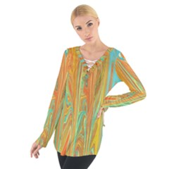 Beautiful Abstract in Orange, Aqua, Gold Women s Tie Up Tee