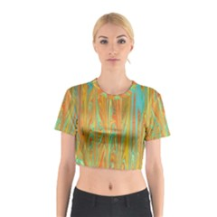 Beautiful Abstract in Orange, Aqua, Gold Cotton Crop Top
