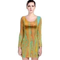 Beautiful Abstract in Orange, Aqua, Gold Long Sleeve Velvet Bodycon Dress