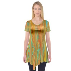 Beautiful Abstract In Orange, Aqua, Gold Short Sleeve Tunic