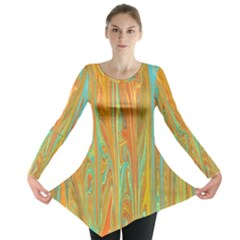 Beautiful Abstract in Orange, Aqua, Gold Long Sleeve Tunic