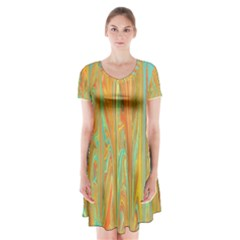 Beautiful Abstract In Orange, Aqua, Gold Short Sleeve V Neck Flare Dress