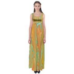 Beautiful Abstract in Orange, Aqua, Gold Empire Waist Maxi Dress