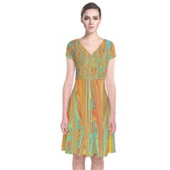 Beautiful Abstract in Orange, Aqua, Gold Short Sleeve Front Wrap Dress