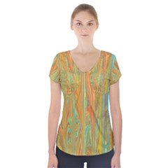 Beautiful Abstract in Orange, Aqua, Gold Short Sleeve Front Detail Top