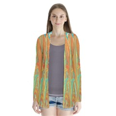 Beautiful Abstract In Orange, Aqua, Gold Drape Collar Cardigan
