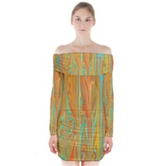 Beautiful Abstract In Orange, Aqua, Gold Long Sleeve Off Shoulder Dress