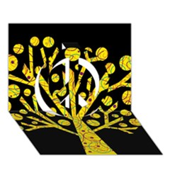 Yellow magical tree Peace Sign 3D Greeting Card (7x5)