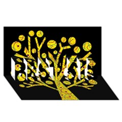 Yellow magical tree BEST SIS 3D Greeting Card (8x4)