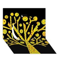 Yellow magical tree Circle 3D Greeting Card (7x5)