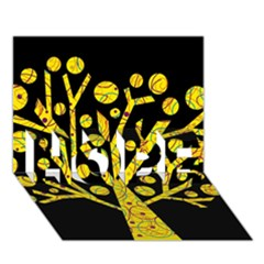 Yellow magical tree HOPE 3D Greeting Card (7x5)