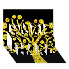 Yellow magical tree WORK HARD 3D Greeting Card (7x5)