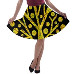 Yellow magical tree A-line Skater Skirt