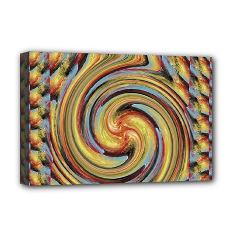 Gold Blue and Red Swirl Pattern Deluxe Canvas 18  x 12