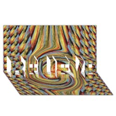 Gold Blue and Red Swirl Pattern BELIEVE 3D Greeting Card (8x4)