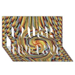 Gold Blue and Red Swirl Pattern Laugh Live Love 3D Greeting Card (8x4)