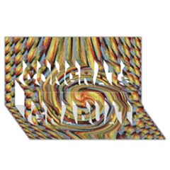 Gold Blue and Red Swirl Pattern Congrats Graduate 3D Greeting Card (8x4)