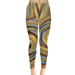 Gold Blue and Red Swirl Pattern Leggings