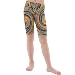 Gold Blue And Red Swirl Pattern Kids  Mid Length Swim Shorts