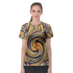Gold Blue and Red Swirl Pattern Women s Sport Mesh Tee