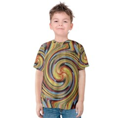Gold Blue and Red Swirl Pattern Kids  Cotton Tee