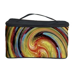 Gold Blue And Red Swirl Pattern Cosmetic Storage Case