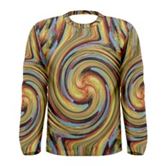 Gold Blue and Red Swirl Pattern Men s Long Sleeve Tee