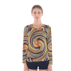 Gold Blue and Red Swirl Pattern Women s Long Sleeve Tee