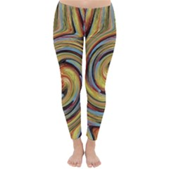 Gold Blue And Red Swirl Pattern Winter Leggings