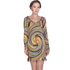 Gold Blue and Red Swirl Pattern Long Sleeve Nightdress