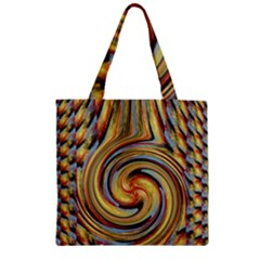 Gold Blue and Red Swirl Pattern Zipper Grocery Tote Bag
