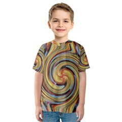 Gold Blue and Red Swirl Pattern Kids  Sport Mesh Tee