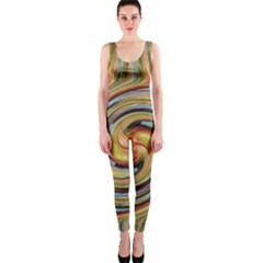 Gold Blue and Red Swirl Pattern OnePiece Catsuit