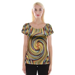 Gold Blue and Red Swirl Pattern Women s Cap Sleeve Top