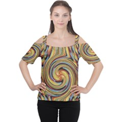 Gold Blue and Red Swirl Pattern Women s Cutout Shoulder Tee