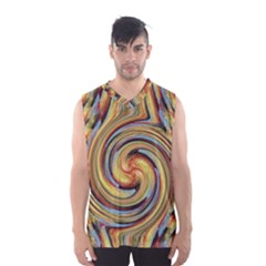 Gold Blue and Red Swirl Pattern Men s Basketball Tank Top
